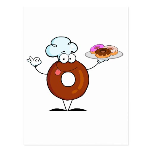 funny donut donut chef cartoon character postcard