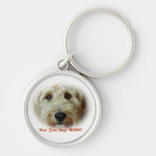 Funny Doodle Dog Car Ride Key Ring