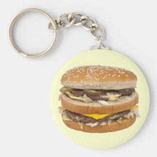 Funny Double Cheese Hamburger Beef Fast Food Basic Round Button Key Ring