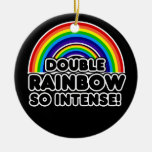 Funny Double Rainbow OMG Christmas Ornaments