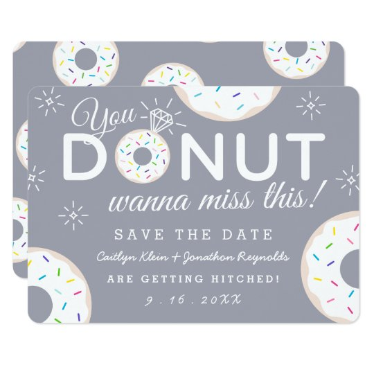 Funny Doughnut Themed Wedding Save the Dates Card