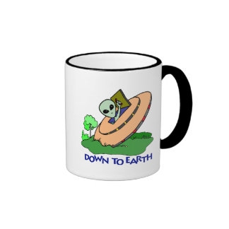 Funny Down To Earth Alien T-shirts Gifts Ringer Mug