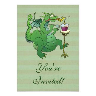 Funny Dragon Blowing Birthday Candles 13 Cm X 18 Cm Invitation Card