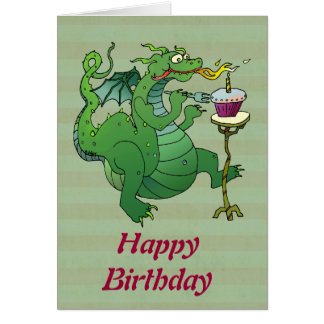 Funny Dragon Blowing Birthday Candles Greeting Card