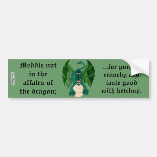 Funny Dragon Bumper Sticker