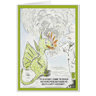 "Funny Dragon ""Health & Safety"" Greeting Card"