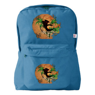 Funny dragon with palm and flowers backpack
