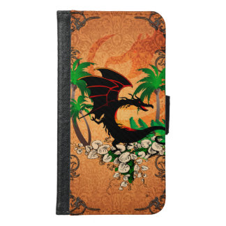 Funny dragon with palm and flowers samsung galaxy s6 wallet case