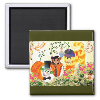 Funny Dressed Up Cats in the Garden Design Magnet