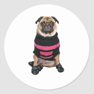Funny dressed up pug dog with sweater and boots classic round sticker