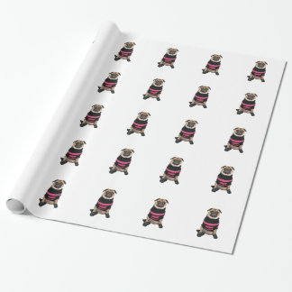 Funny dressed up pug dog with sweater and boots wrapping paper