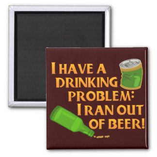 Funny Drinking Beer Square Magnet