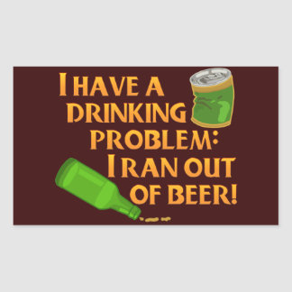 Funny Drinking Beer Rectangular Stickers