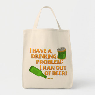 Funny Drinking Beer Grocery Tote Bag