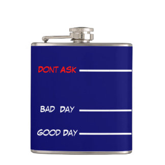 funny drinking measures hip flask blue