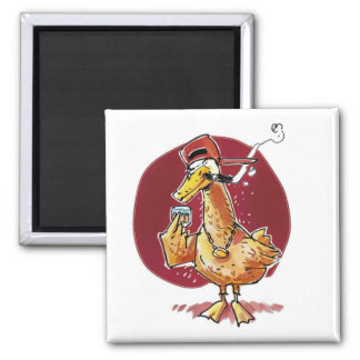 funny duck drink whiskey and smoke cigar cartoon square magnet