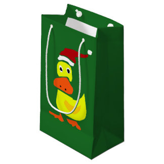 Funny Duck in Santa Hat Christmas Gift Bag