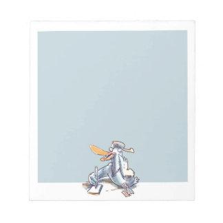 funny duck lying on floor cartoon notepad