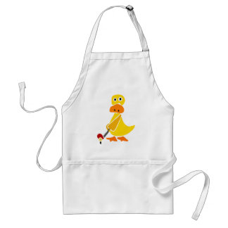 Funny Duck Playing Golf Primitive Art Standard Apron