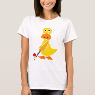 Funny Duck Playing Golf Primitive Art T-Shirt