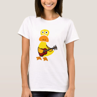 Funny Duck Playing Guitar Primitive Art T-Shirt