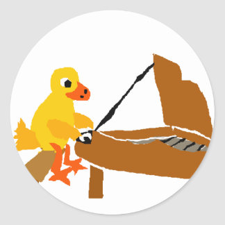Funny Duck Playing Piano Art Round Sticker