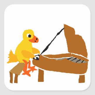 Funny Duck Playing Piano Art Square Sticker