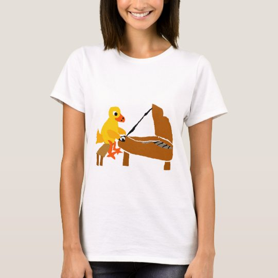 Funny Duck Playing Piano Art T-Shirt
