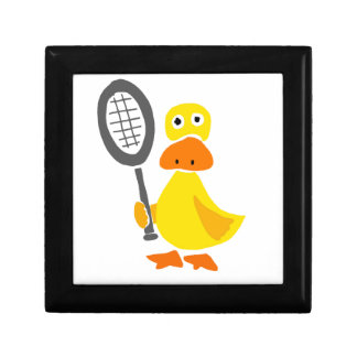Funny Duck Playing Tennis Cartoon Jewelry Boxes