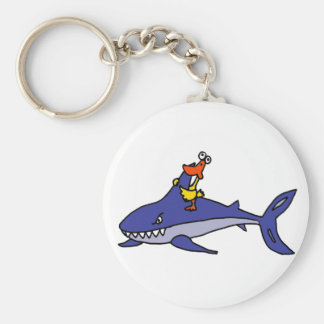 Funny Duck Riding Shark Cartoon Basic Round Button Key Ring