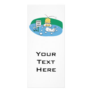 funny duck with hard hat avoiding golf balls customized rack card