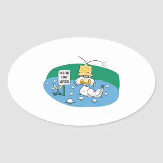 funny duck with hard hat avoiding golf balls oval sticker