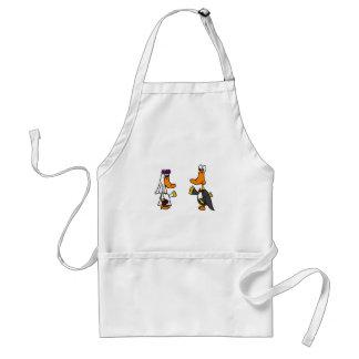 Funny Ducks Bride and Groom Wedding Cartoon Standard Apron