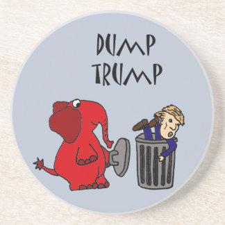 Funny Dump Trump Political Cartoon Art Drink Coaster