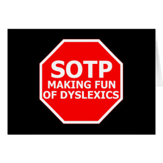 Funny dyslexic sign greeting card
