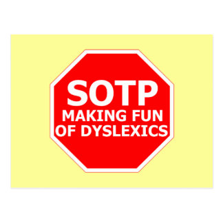Funny dyslexic sign postcard