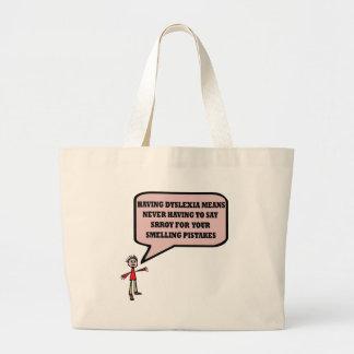 Funny dyslexic slogan large tote bag