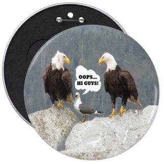 Funny Eagles and Seagull Round Pin-Back Button