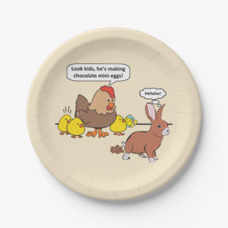 Funny Easter Bunny Chocolate Eggs 7 Inch Paper Plate
