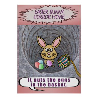 Funny Easter Bunny Horror Movie Poster