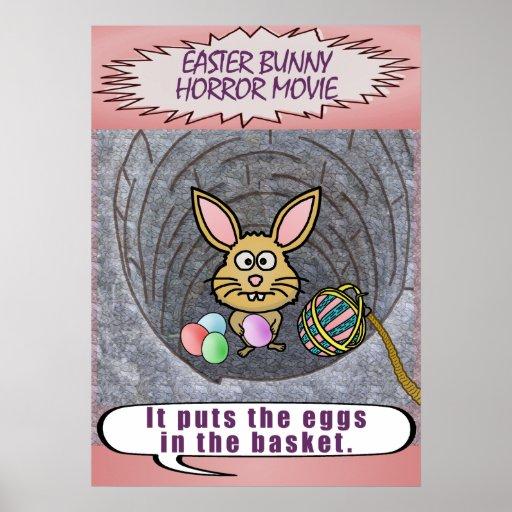 Funny Easter Bunny Horror Movie Print