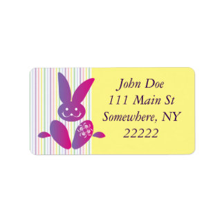 Funny Easter Bunny on Stripes Address Label