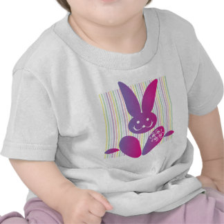 Funny Easter Bunny on Stripes Tee Shirt
