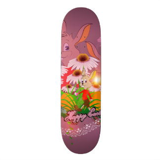 Funny easter bunny with easter eggs skate board deck