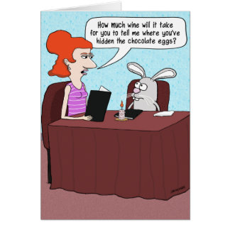 Funny Easter Card: Bunny Interrogation Greeting Card