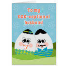 Funny Easter Card for Husband Silly Eggs in Grass