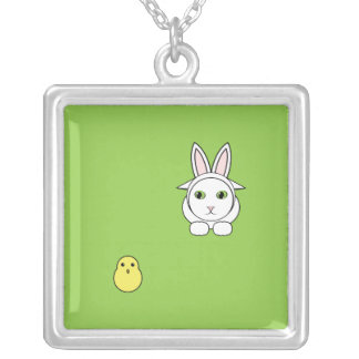 Funny Easter Cat and Chick Necklace