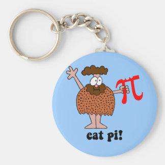 Funny eat pi math basic round button key ring