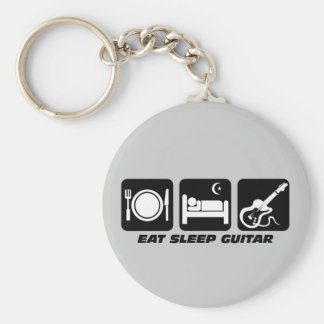 Funny eat sleep guitar basic round button key ring