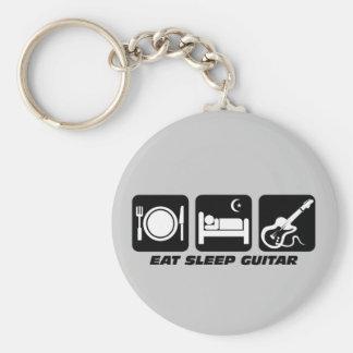 Funny eat sleep guitar basic round button key ring
